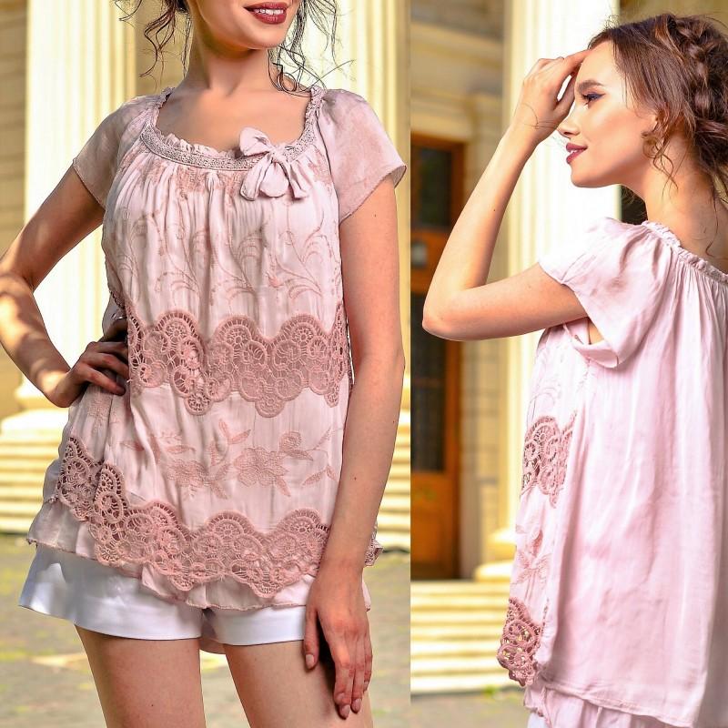 Bluza brodata din matase - roz