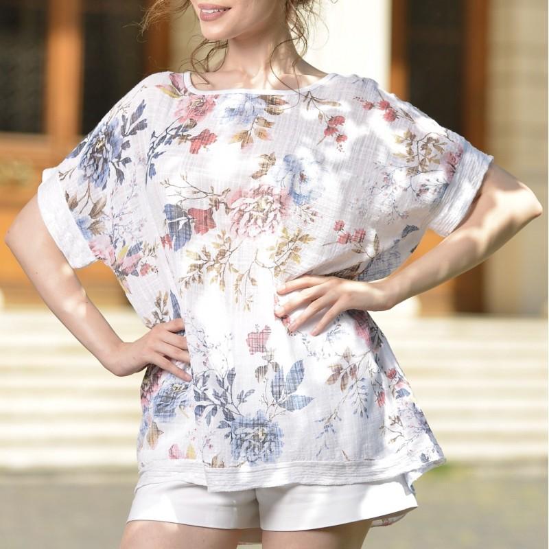 Bluza alba vaporoasa cu imprimeu floral si paiete - 02