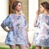 Bluza alba vaporoasa cu imprimeu floral si paiete