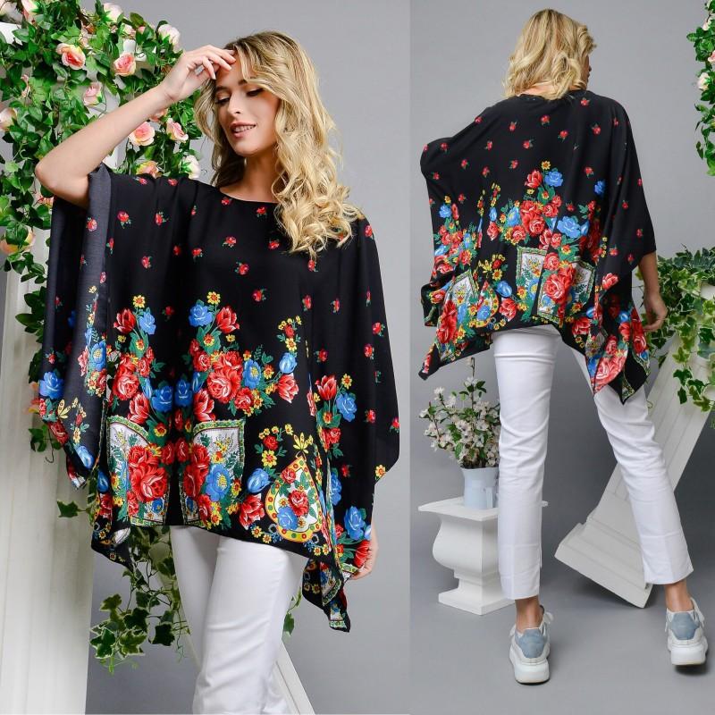 Bluza neagra cu imprimeu floral - Izabela