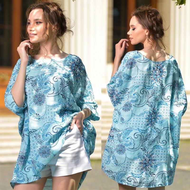 Bluza vaporoasa turcoaz cu imprimeu floral