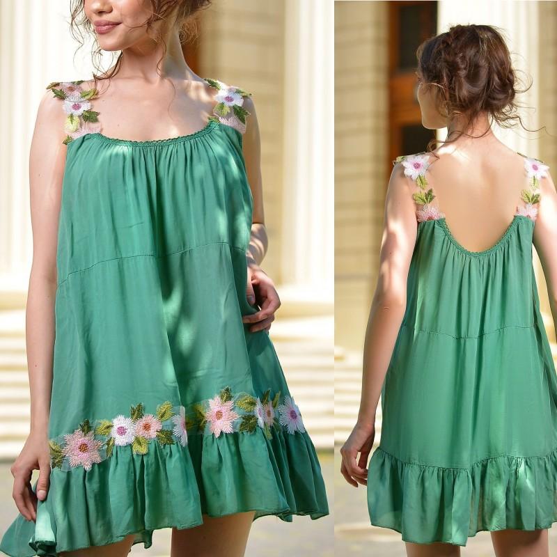 Maiou verde stilizat cu bretele - Florina
