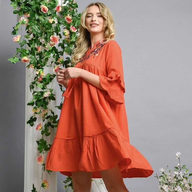 Rochie Nationala rosie cu broderie florala - Adela