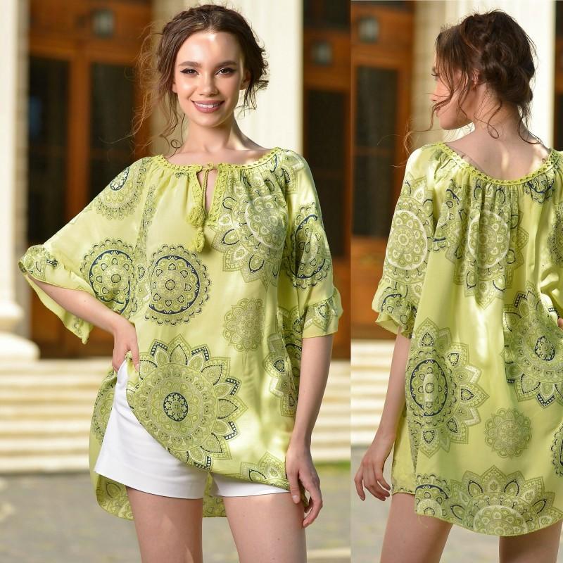 Bluza verde vaporoasa cu imprimeu
