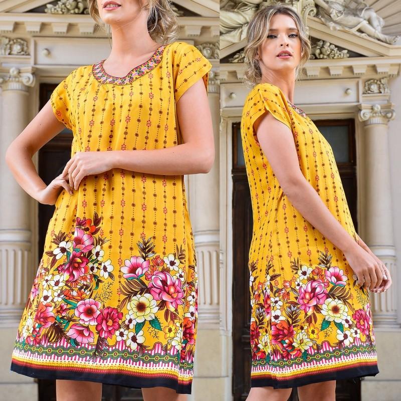 Rochie galbena cu imprimeu floral - Silvia