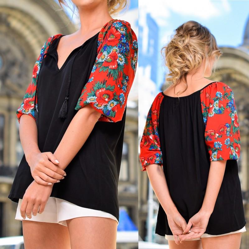 Bluza neagra cu imprimeu floral rosu pe maneci - Florentina 02