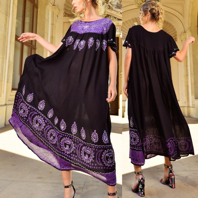 Rochie rochie lunga cu imprimeu mov si broderie