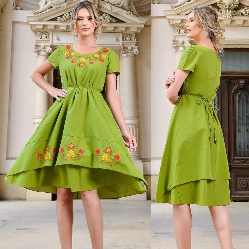 Rochie verde conica cu broderie florala - Andra 02