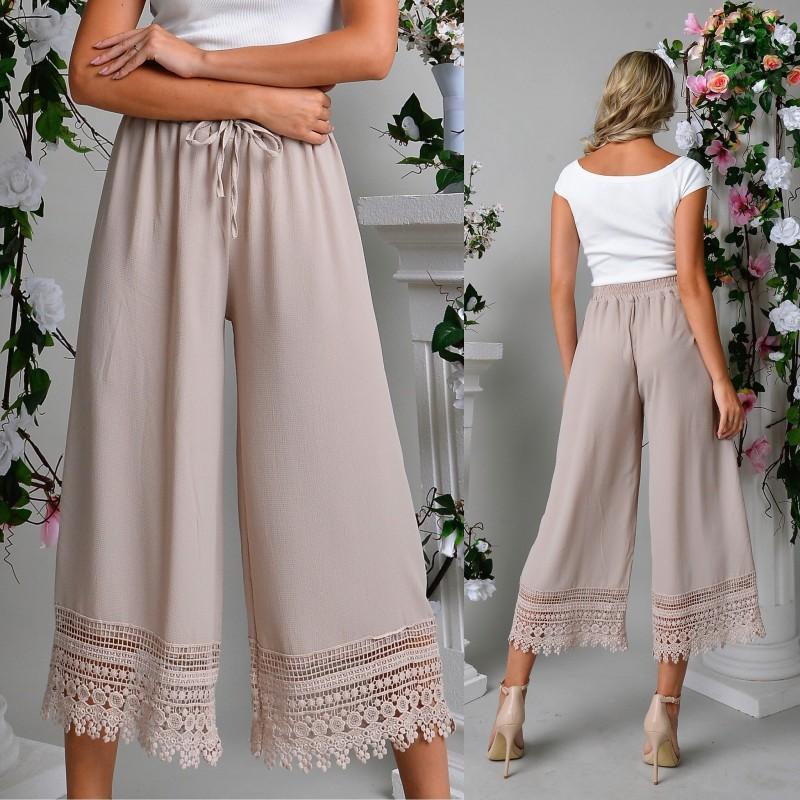 Pantaloni cu dungi trei sferturi satinati - alb+negru