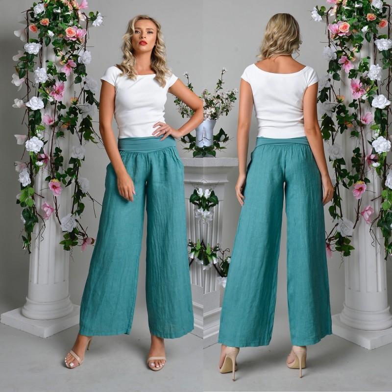 Pantaloni lungi din in - turcoaz