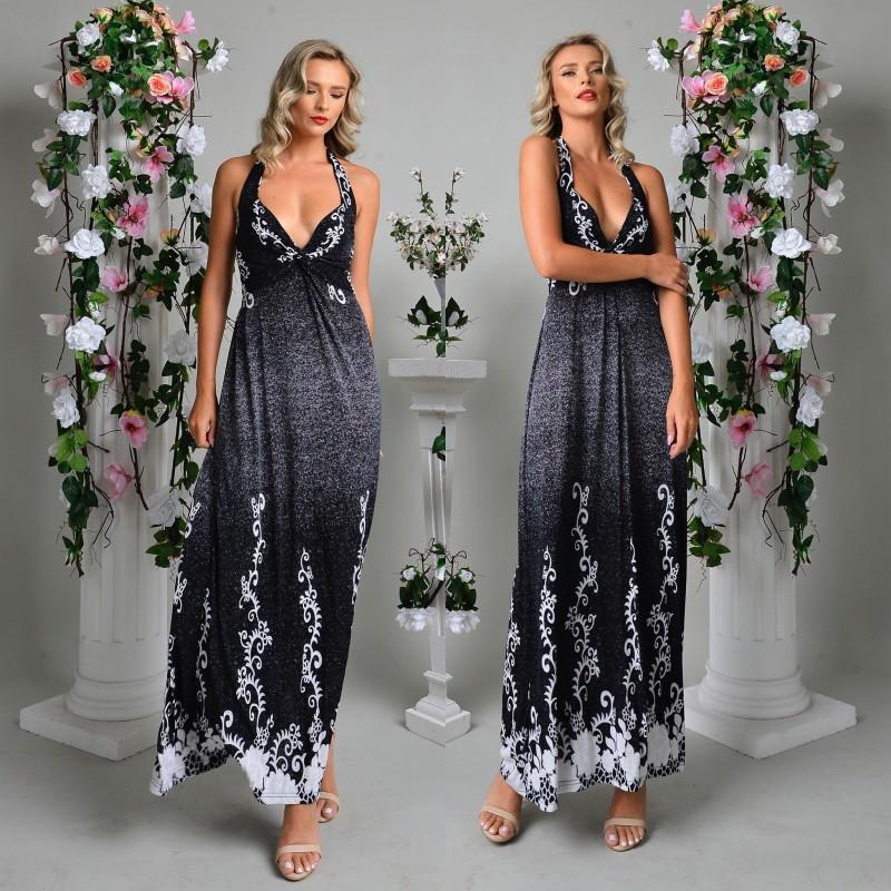 Rochie lunga neagra cu imprimeu