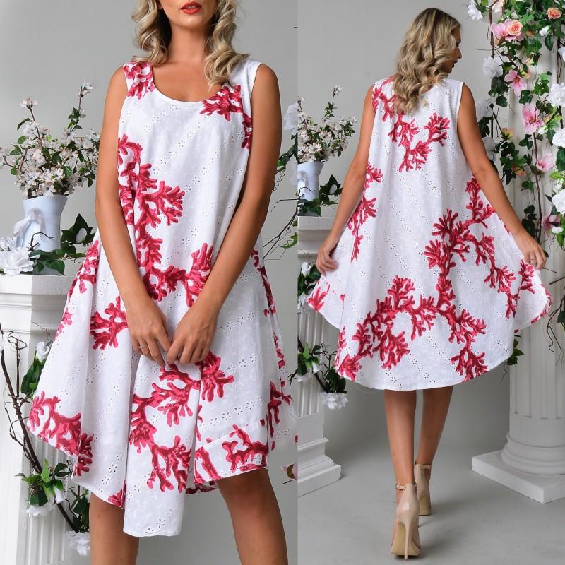 Rochie vaporoasa cu broderie perforata si imprimeu rosu