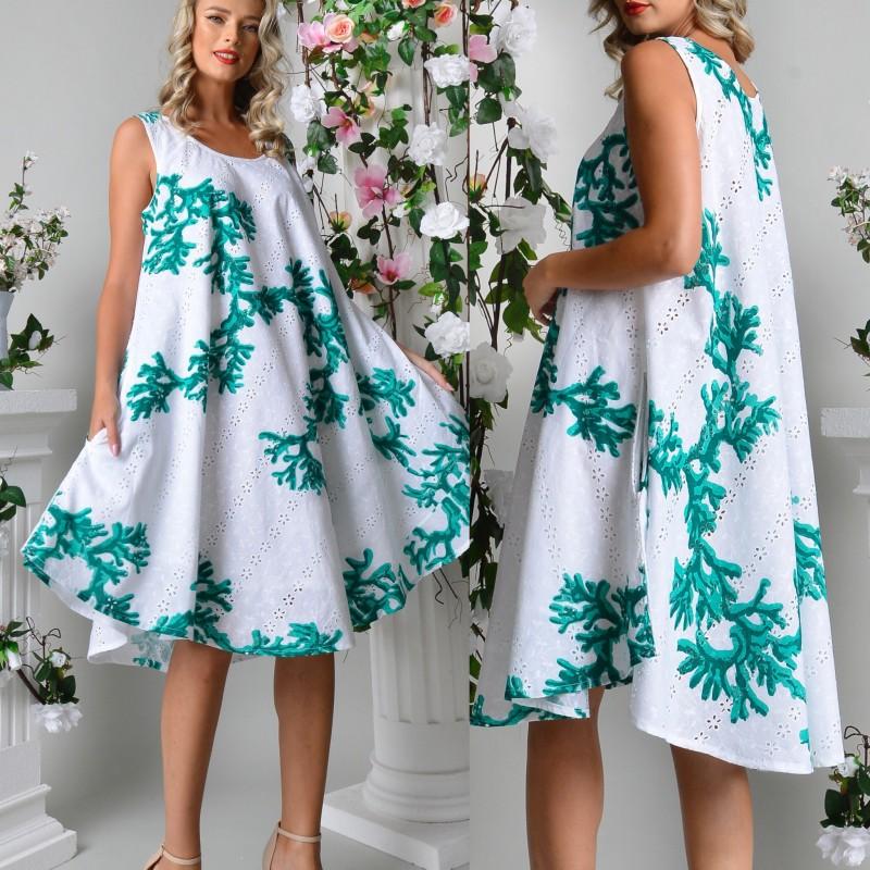 Rochie vaporoasa cu broderie perforata si imprimeu verde
