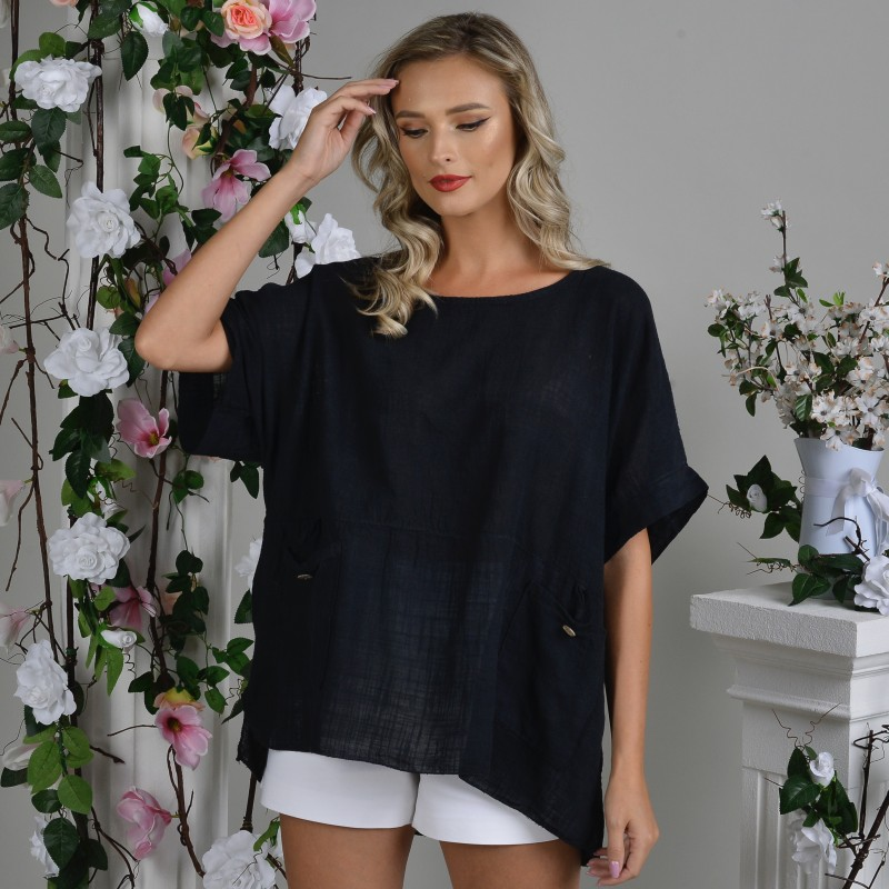 Bluza din in neagra cu buzunare