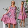 Rochie din in roz vaporoasa cu imprimeu floral