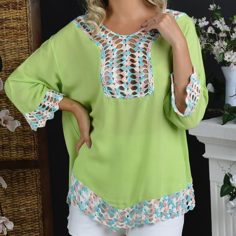 Bluza vaporoasa verde crud cu model crosetat