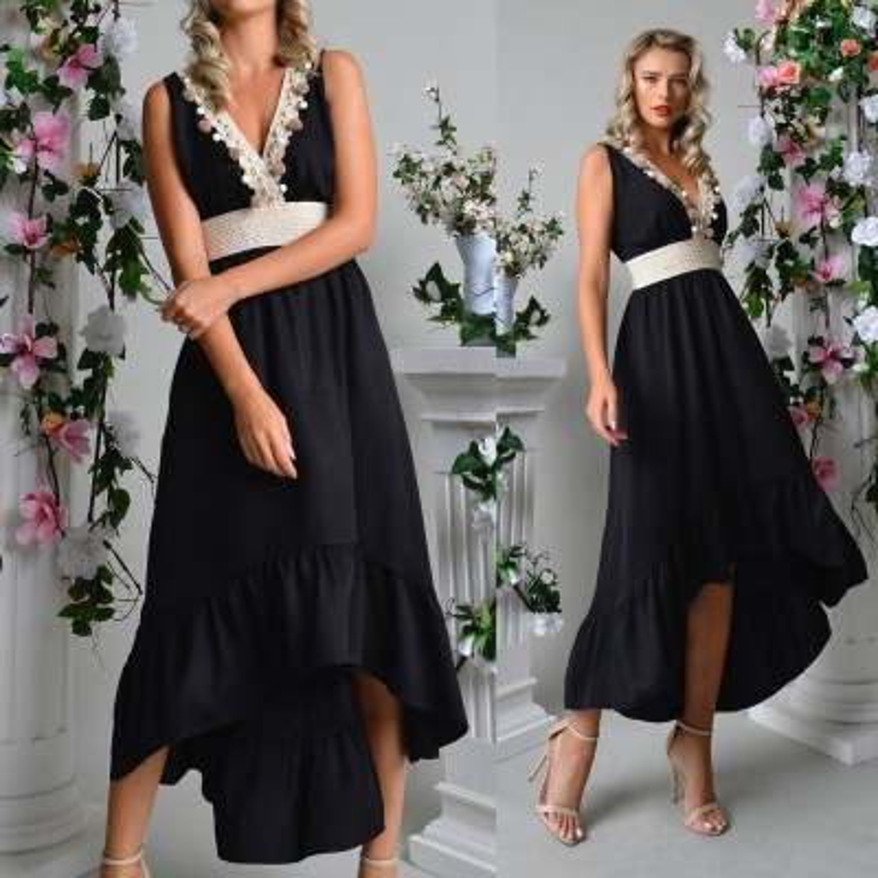 Rochie neagra cu model printat si lantisor inclus