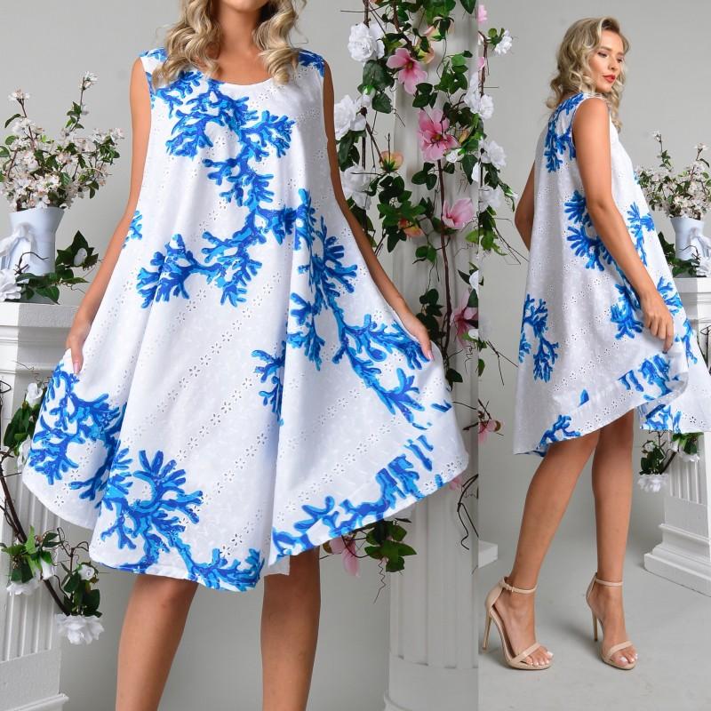 Rochie vaporoasa cu broderie perforata si imprimeu albastru