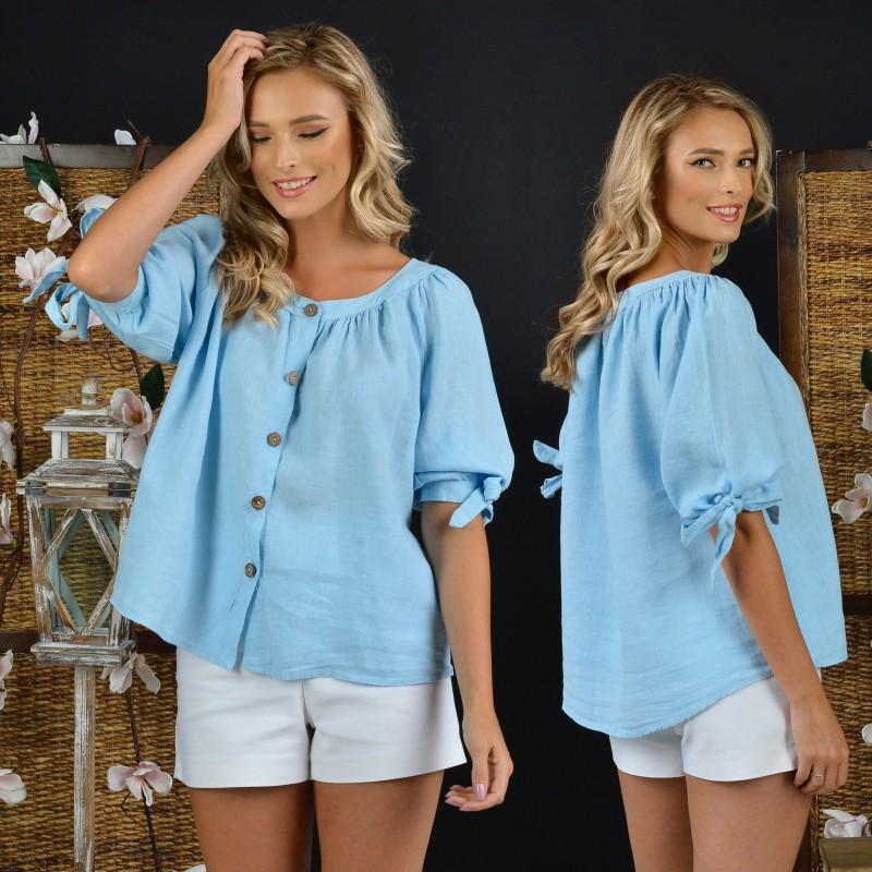 Bluza din in bleu cu nasturi si maneci bufante