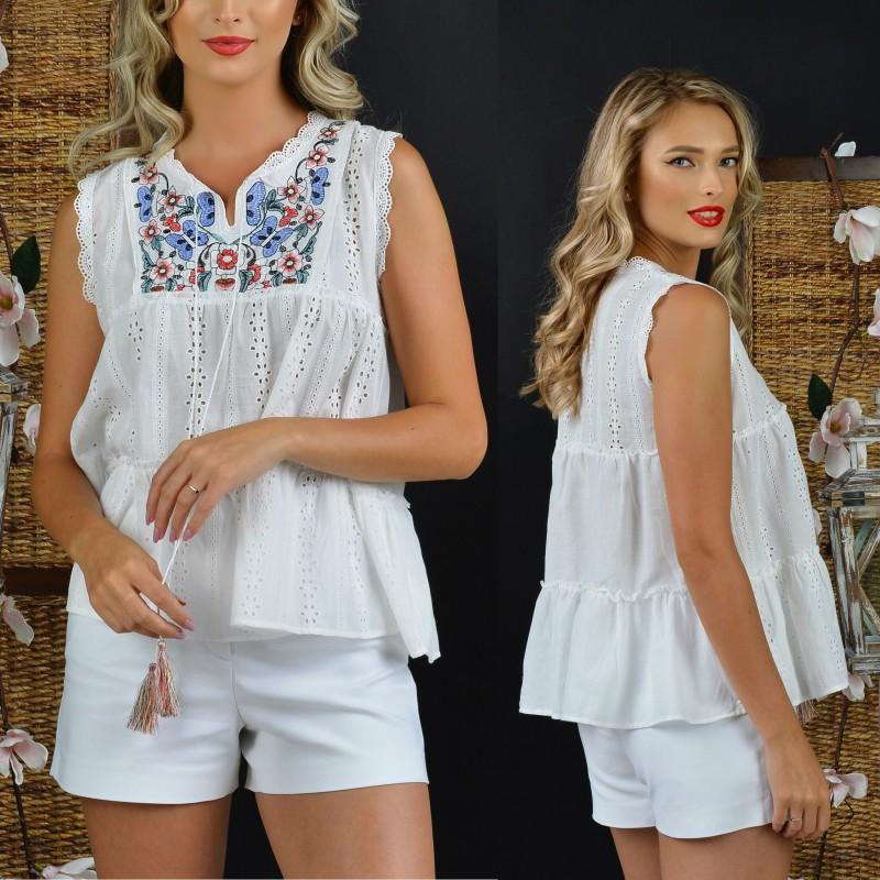 Bluza brodata alba stilizata cu dantela - Anastasia