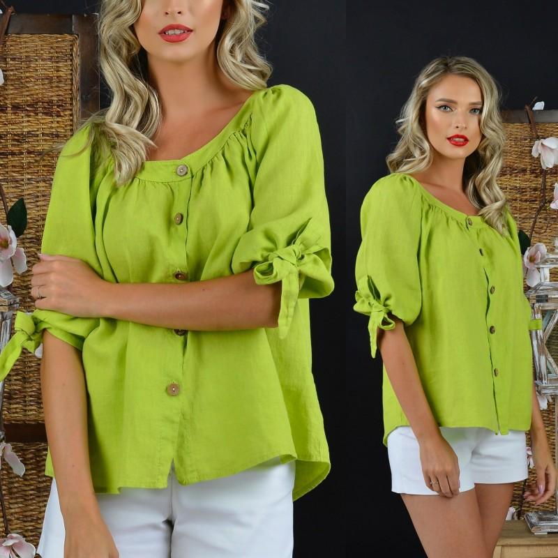Bluza din in verde crud cu nasturi si maneci bufante