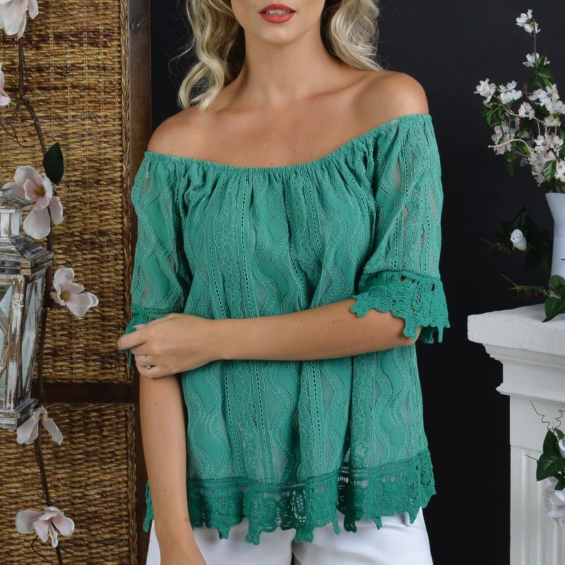 Bluza stilizata verde cu dantela brodata