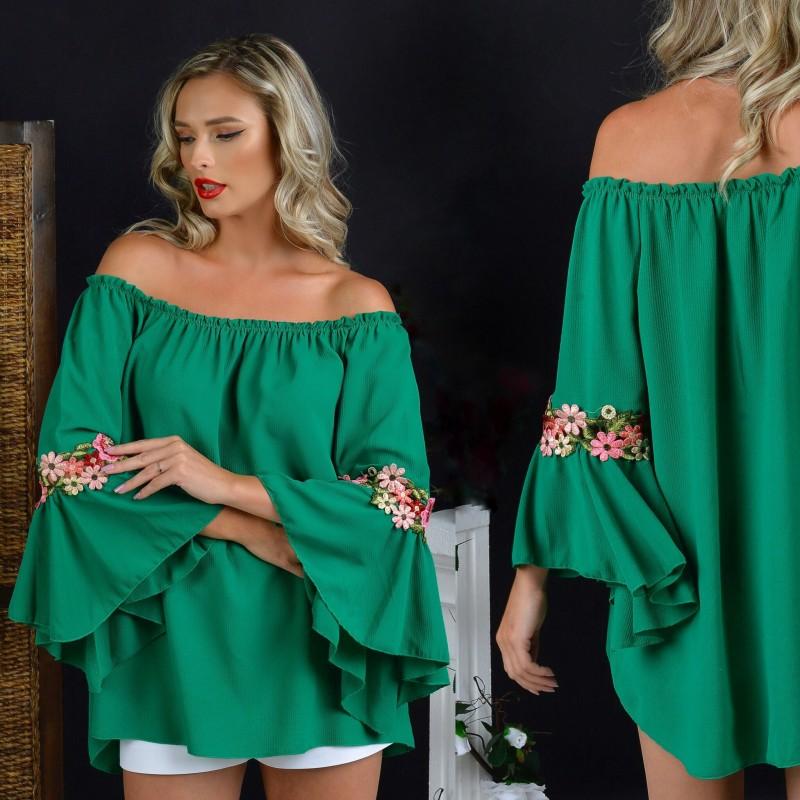 Bluza vaporoasa verde - Lia