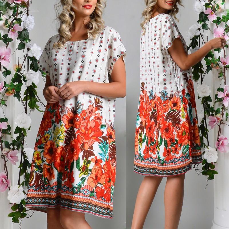 Rochie alba cu imprimeu floral - Lavinia