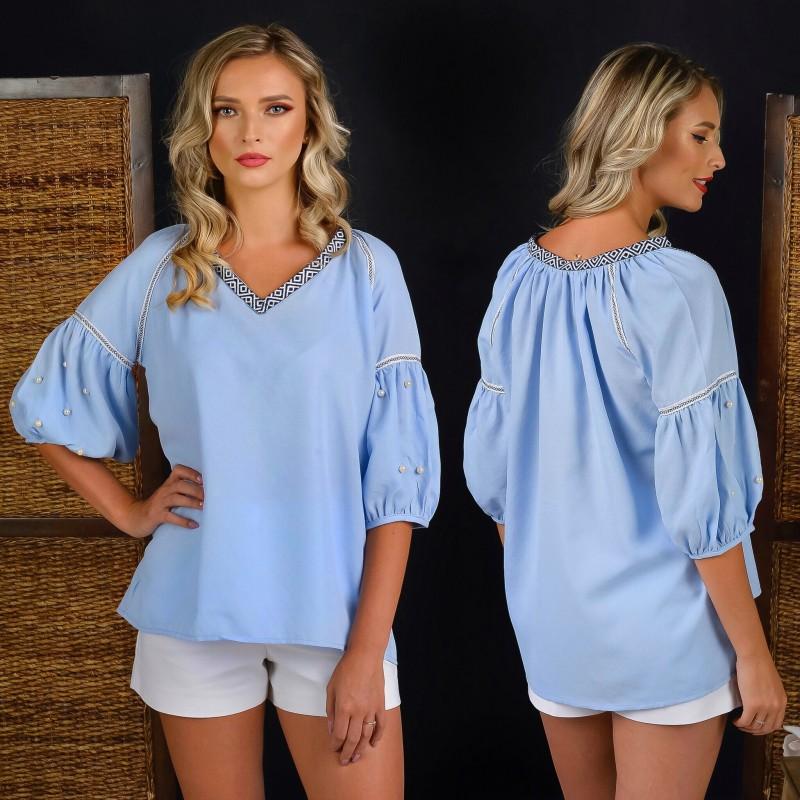 Bluza Nationala bleu cu maneci bufante si perle