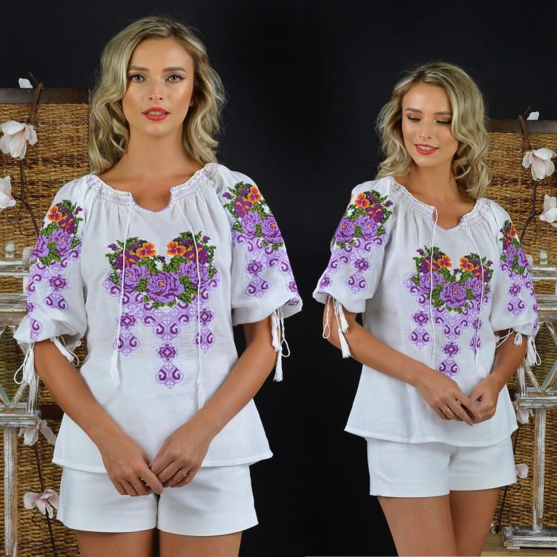 IE Traditionala alba cu flori - Ruxandra