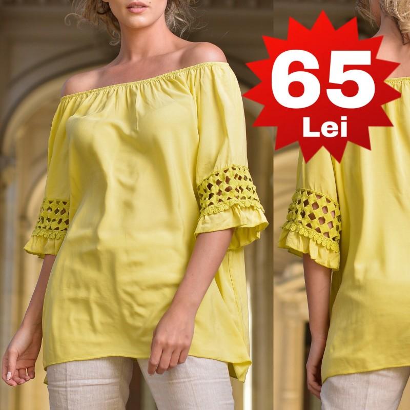 Bluza din in cu imprimeu floral - Aura