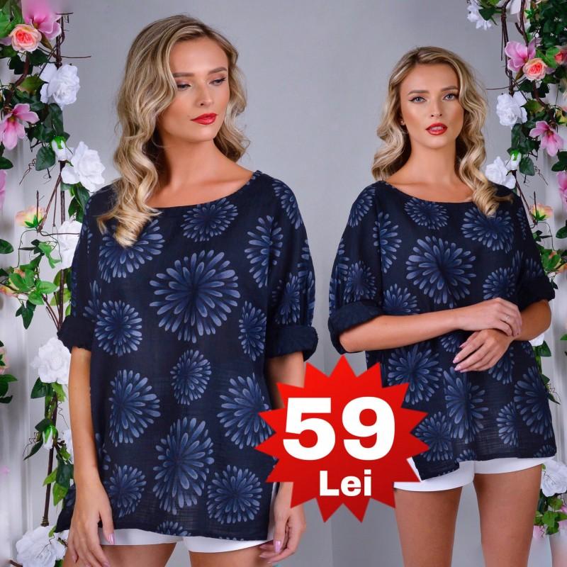 Bluza din in bleumarin cu imprimeu