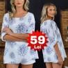 Bluza din in cu imprimeu