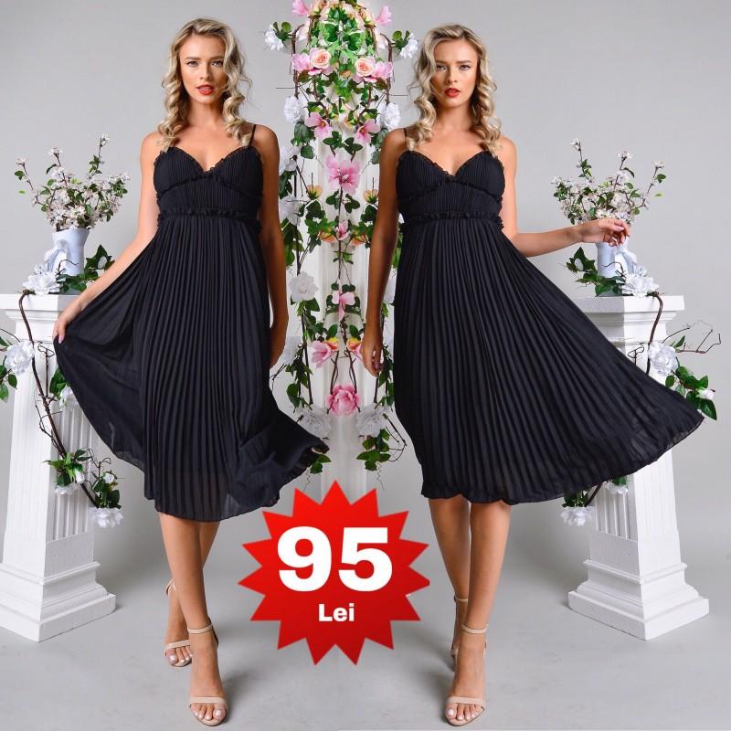 Rochie eleganta neagra plisata cu bretele