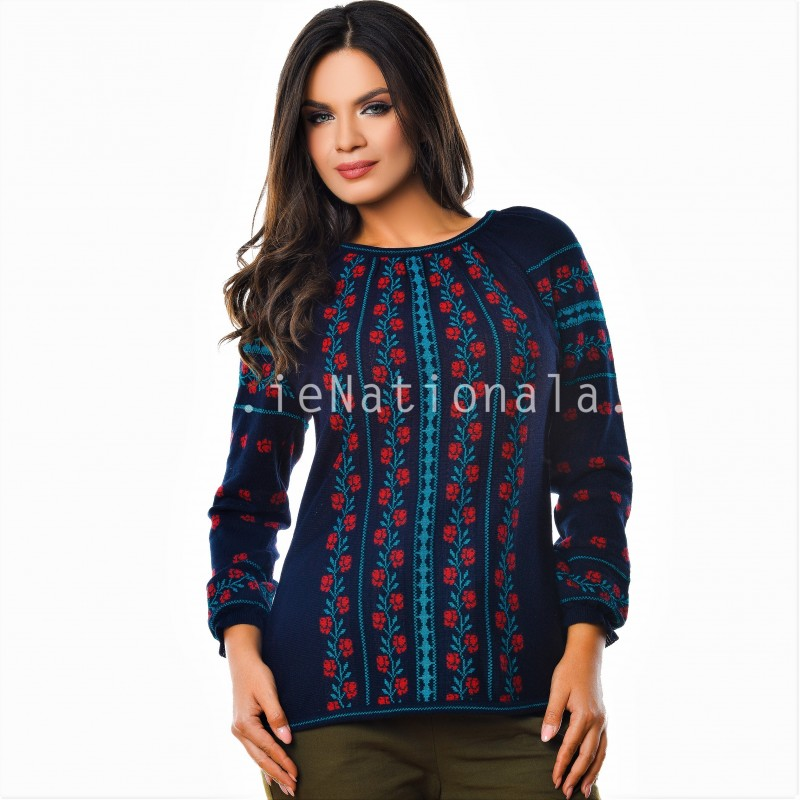 Bluza din tricot cu model stilizat traditional