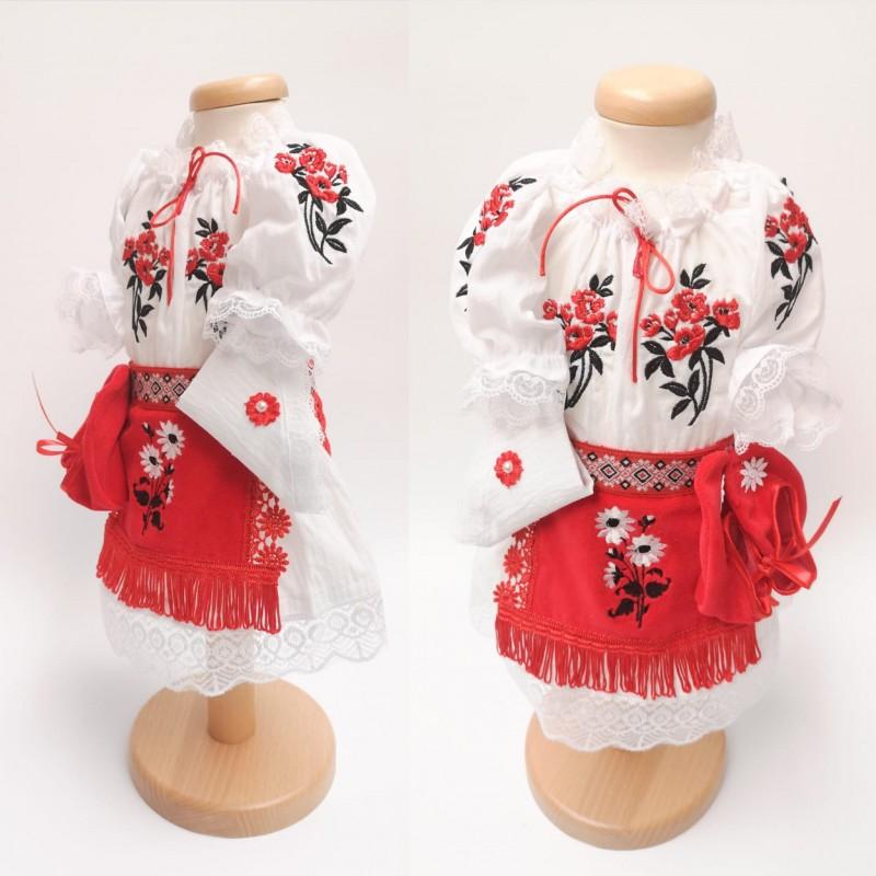 Costum National pentru fetite cu vesta - Mara