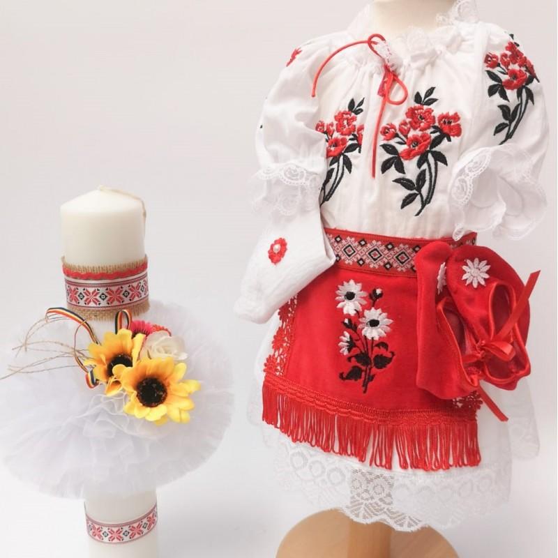 Set National botez - Costumas si Lumanare pentru fetite - Mara