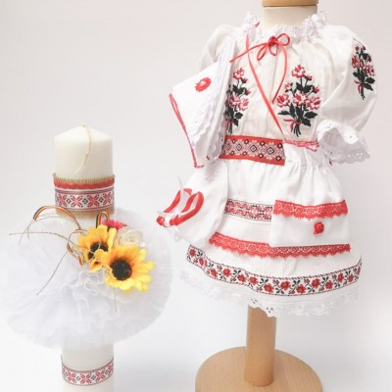 Set National botez - Costumas si Lumanare pentru fetite - Alma