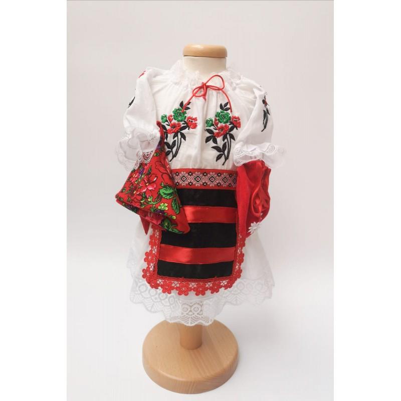 Costum National pentru fetite cu vesta