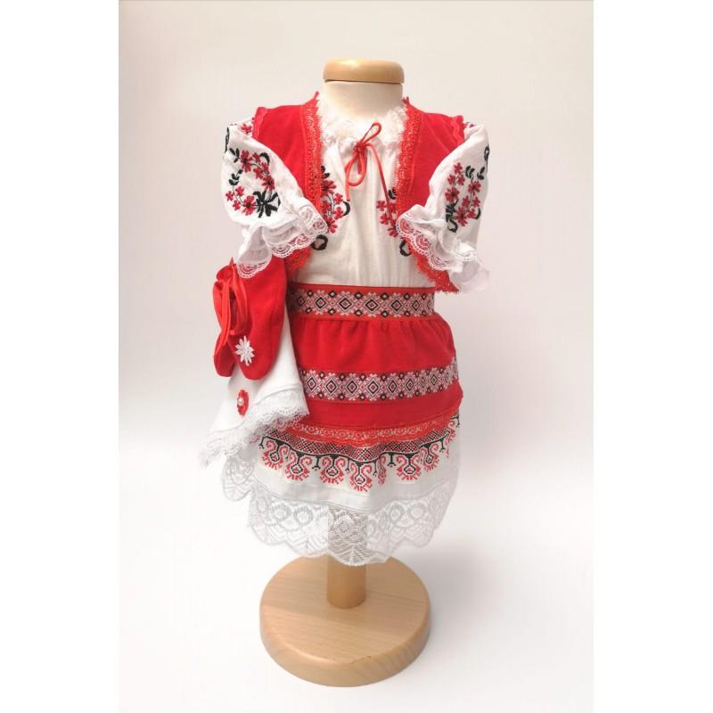 Costum National pentru fetite cu vesta - Alina