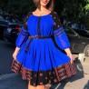 Rochie albastra din voal cu model traditional stilizat