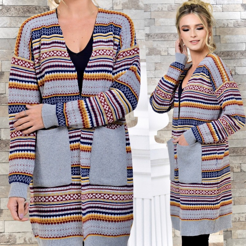 Cardigan din tricot cu motive traditionale - gri