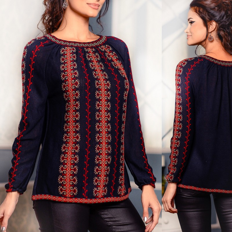 Bluza din tricot cu model stilizat traditional - neagra