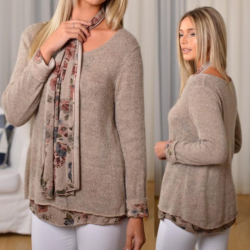 Bluza bej din tricot cu dublura din bumbac si esarfa