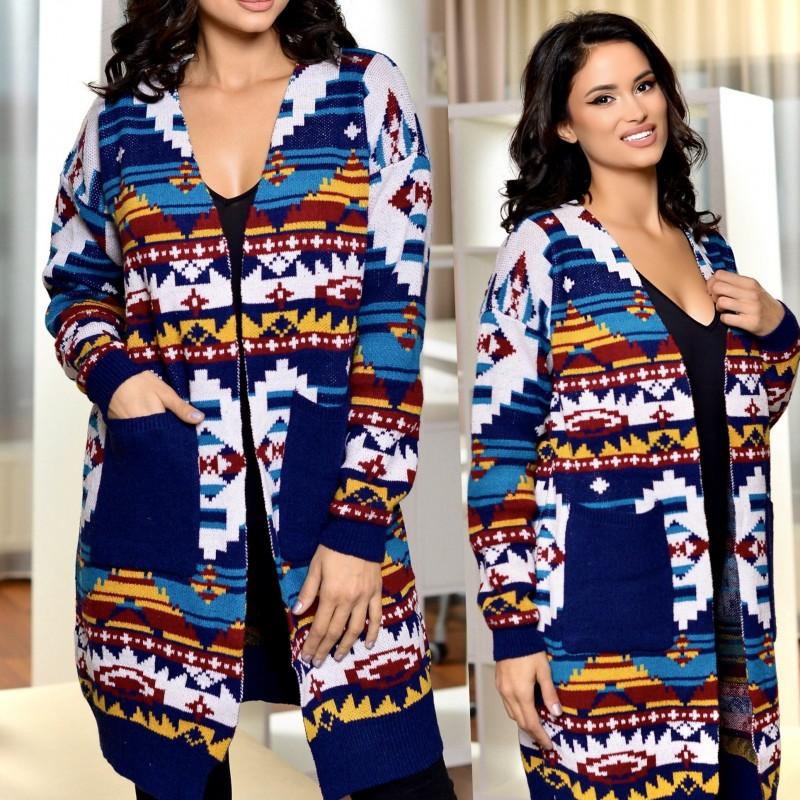 Cardigan din tricot cu motive traditionale - albastru