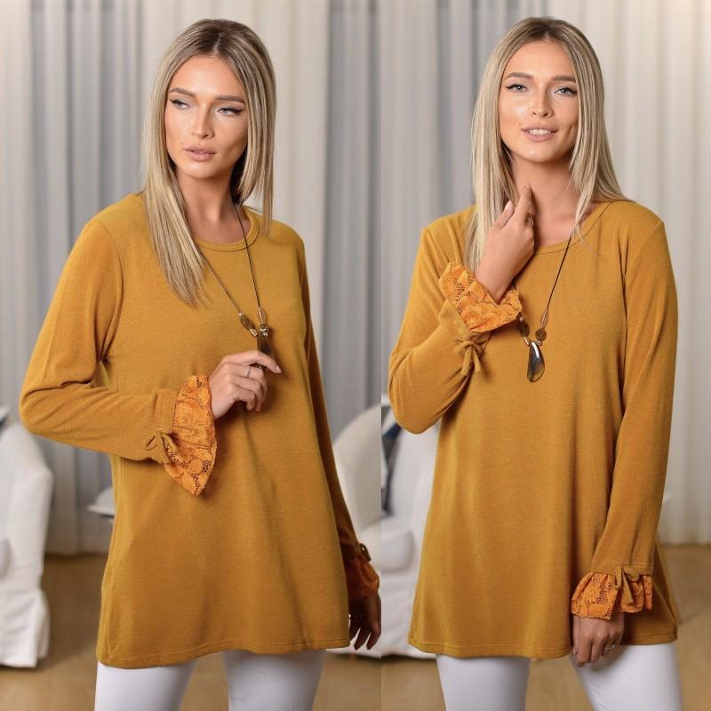 Bluza din tricot cu dantela brodata si model stilizat