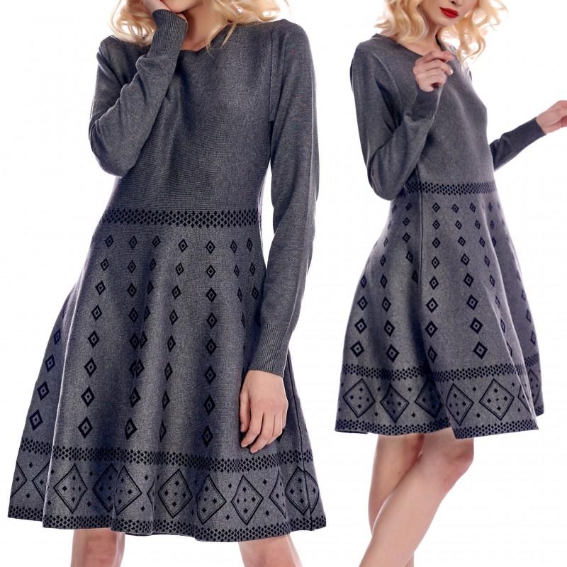 Rochie groasa din tricot cu croi evazat - Andrada