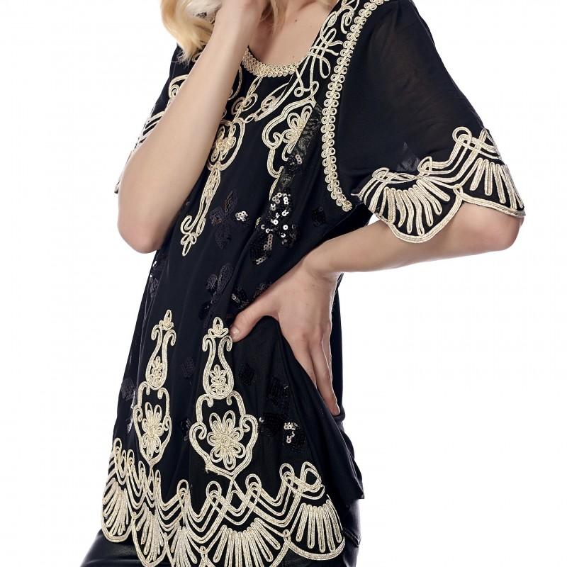 Bluza brodata neagra accesorizata cu paiete - Malina