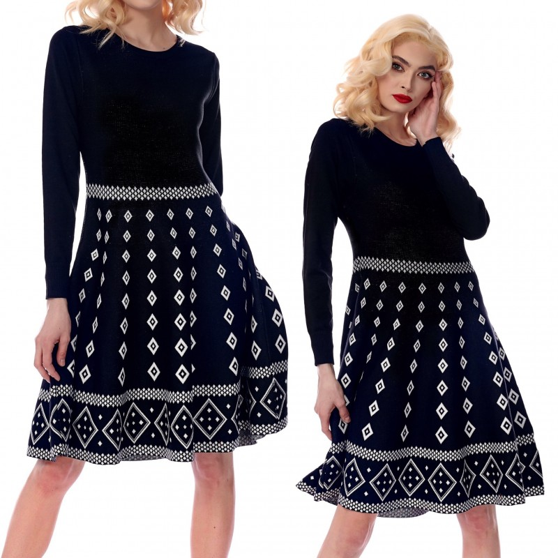 Rochie groasa din tricot cu croi evazat - Andrada 02