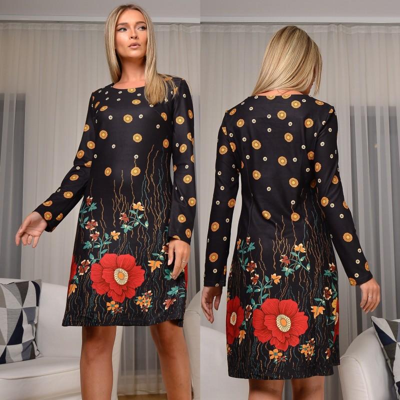 Rochie neagra cu imprimeu floral si textura de piele intoarsa